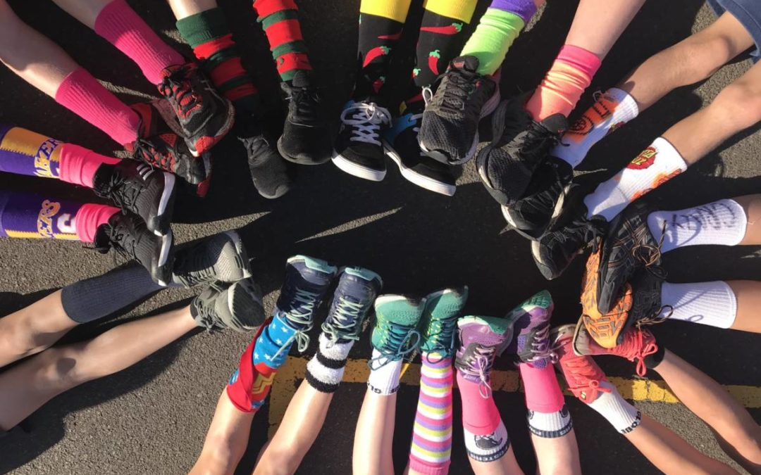 Walk to School October kicked off with Crazy Sock Day